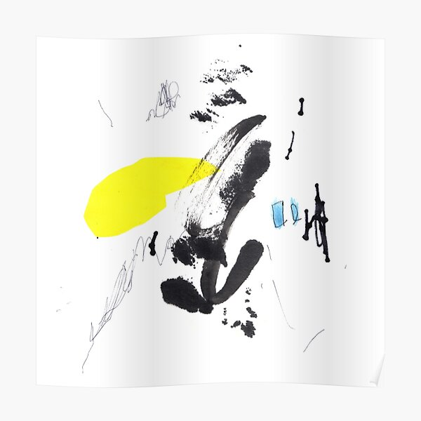 Black and Yellow Abstract Ink Painting Poster