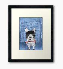 Frenchie With Arc de Triomphe Framed Print