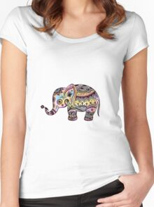 Cute Colorful Retro Flowers Elephant Illustration Women's Fitted Scoop T-Shirt