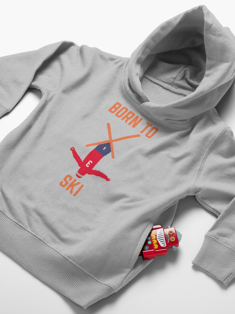 Alternate view of born to ski, skier, skiing Toddler Pullover Hoodie