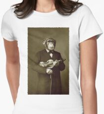 Chimp with a violin Womens Fitted T-Shirt