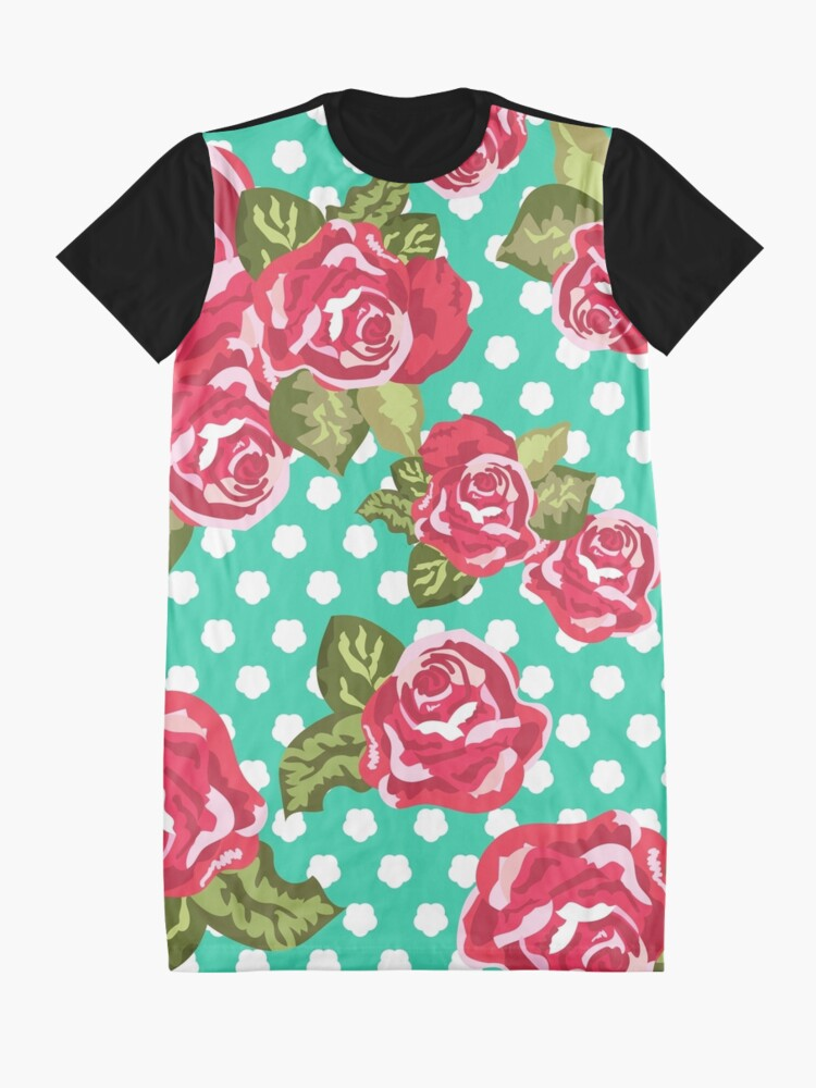 Alternate view of Roses with dots on mint color pattern Graphic T-Shirt Dress