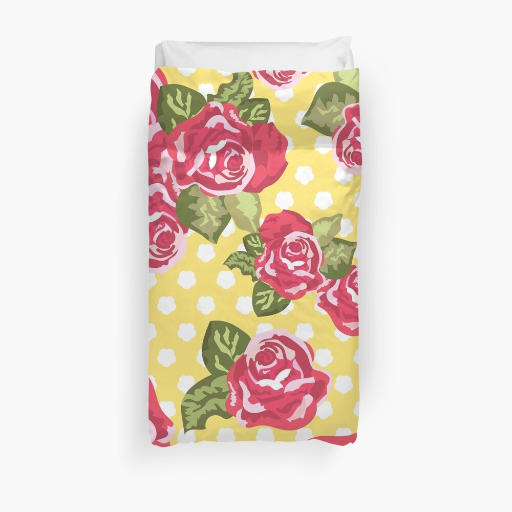 Roses with dots on pastel yellow color pattern Duvet Cover