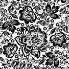 Black and white baroque Floral Seamless Pattern by artonwear