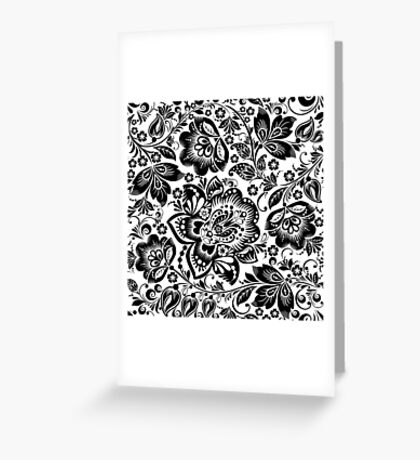 Black and white baroque Floral Seamless Pattern Greeting Card