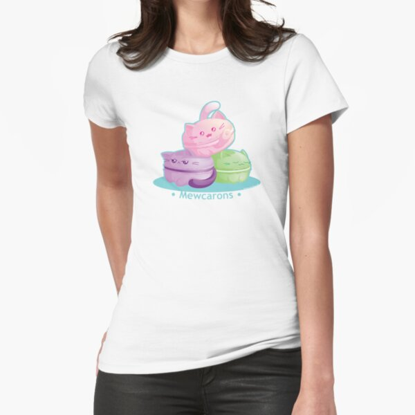 Cute Kitty Cat Macarons Fitted T-Shirt