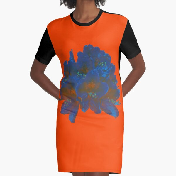 Rhododendron on a lush lava background Graphic T-Shirt Dress