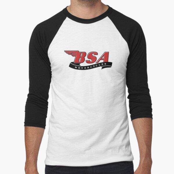 Logotipo clásico de motocicletas BSA Camiseta ¾ estilo béisbol