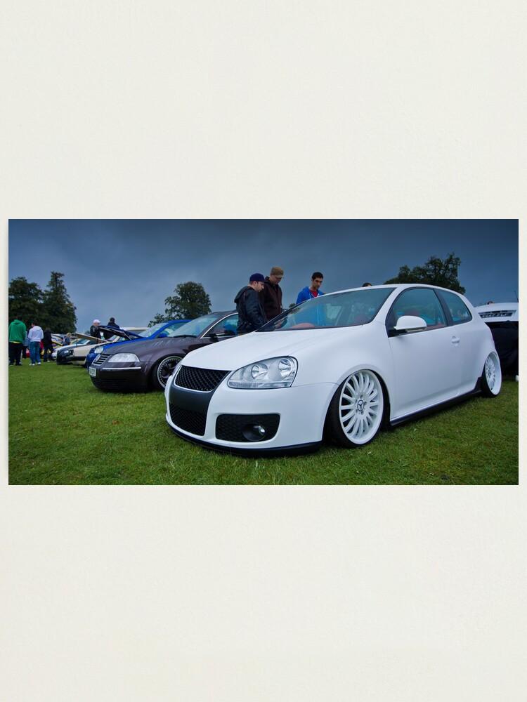 White Mk5 Golf On Merc Rims Photographic Print By Adamkennedy Redbubble