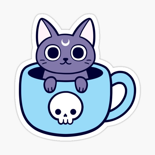 Black Magic Tea / Coffee Cat Sticker