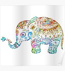 Cute Floral Elephant Glitter Texture Poster