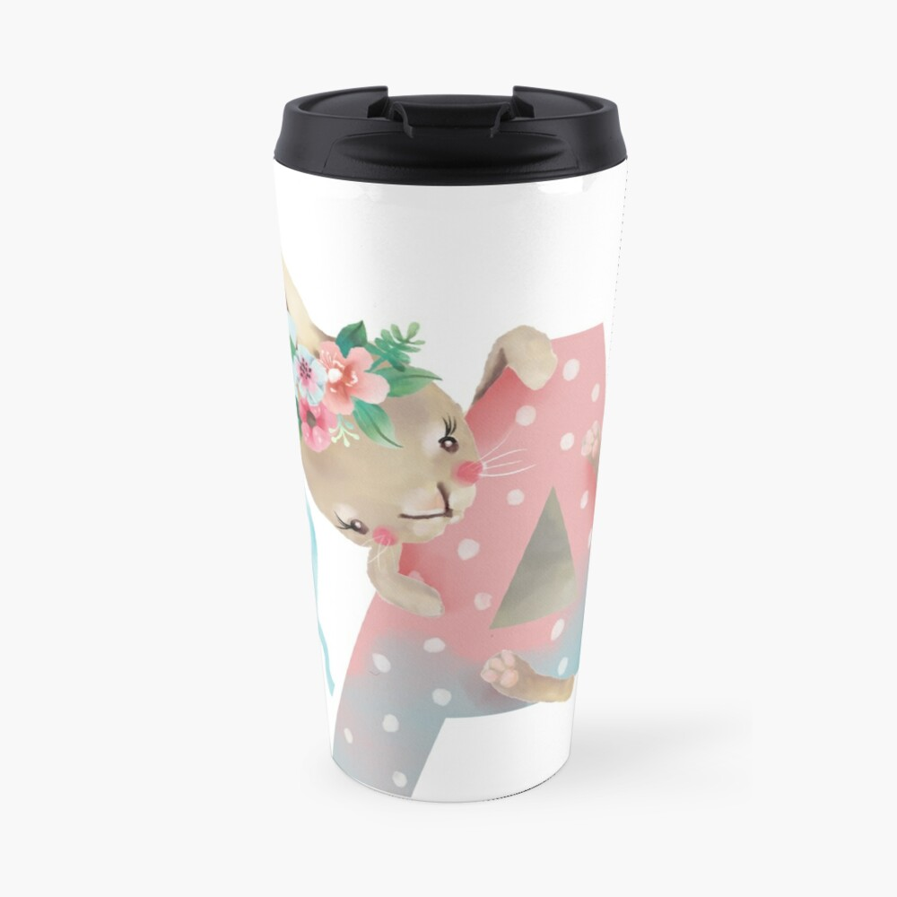 Animal A Alphabet Initial Bunny Rabbit  Travel Mug