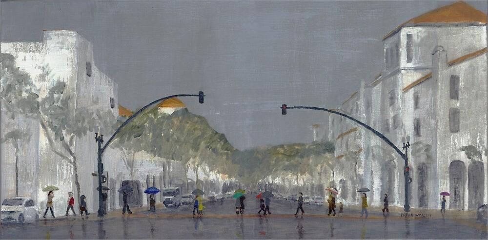 Umbrellas On Chapala by Peter Worsley
