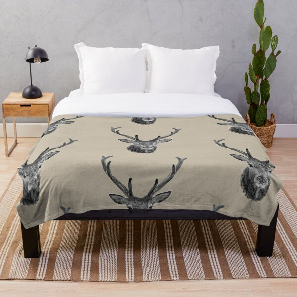 The Stags Head b&w Throw Blanket