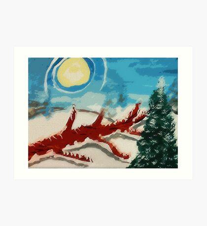 Dead tree in the snow, watercolor Art Print