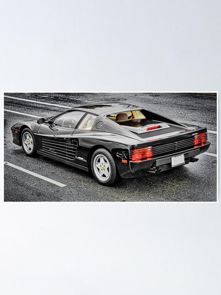 Schwarzer Ferrari Testarossa Poster Von Dbvirago Redbubble