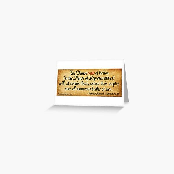 Hamilton's Federalist Paper #65 Greeting Card