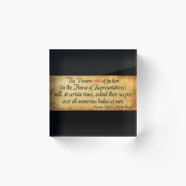 Hamilton's Federalist Paper #65 Acrylic Block