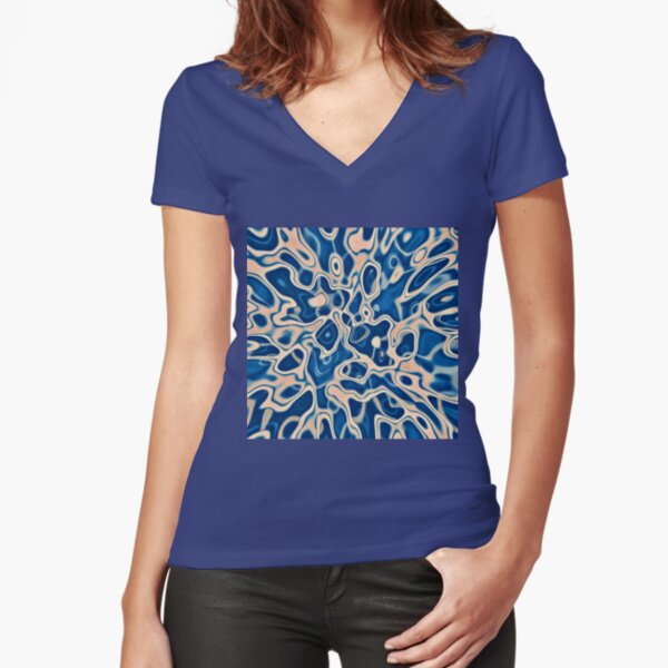 Abstraction of DarkSlateBlue Bisque Fitted V-Neck T-Shirt