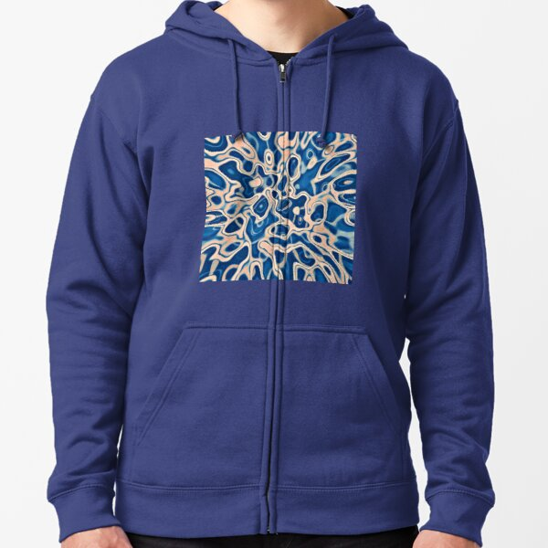 Abstraction of DarkSlateBlue Bisque Zipped Hoodie