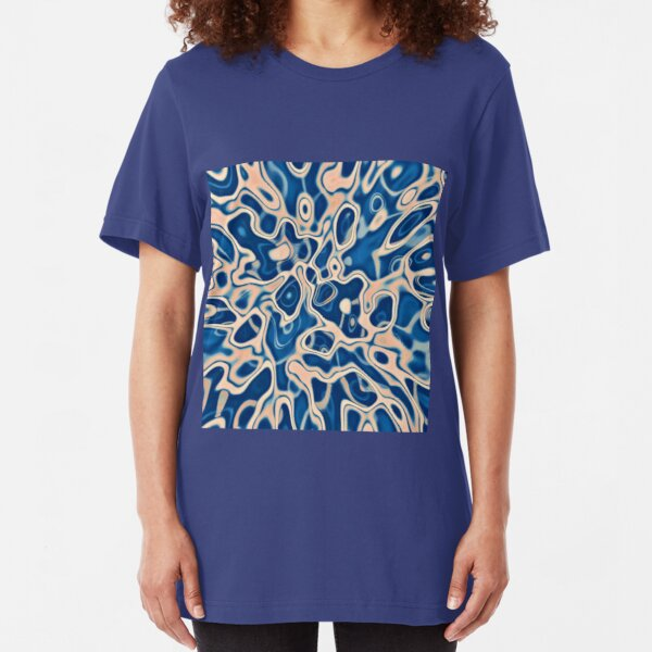 Abstraction of DarkSlateBlue Bisque Slim Fit T-Shirt