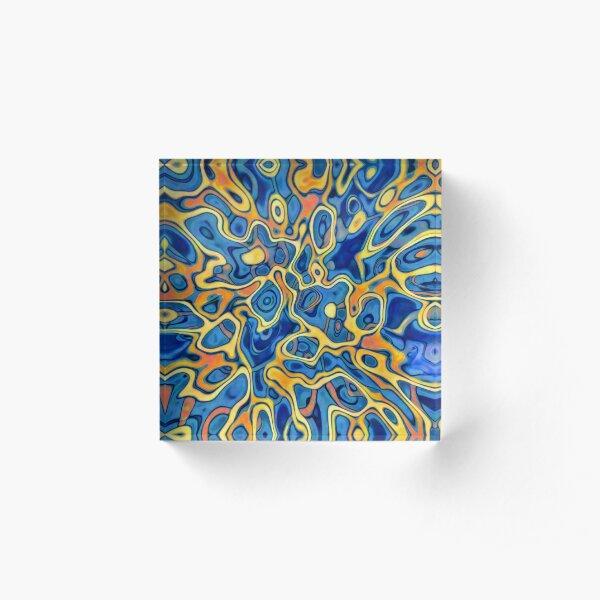 Abstraction of SteelBlue Golden Grass Acrylic Block
