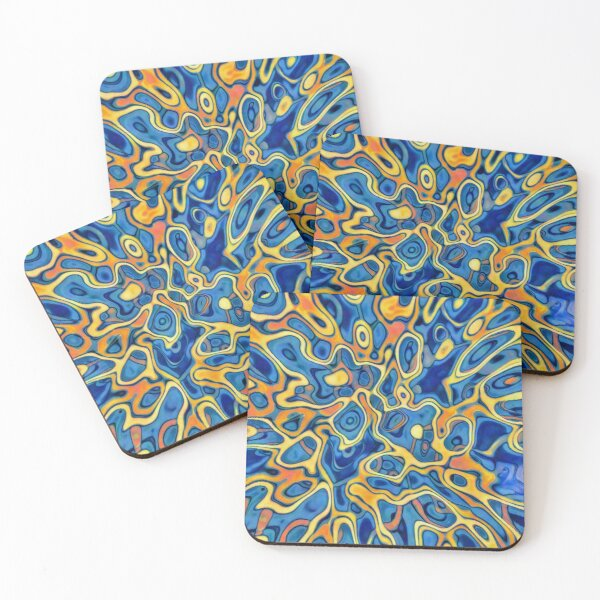 Abstraction of SteelBlue Golden Grass Coasters (Set of 4)