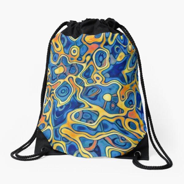 Abstraction of SteelBlue Golden Grass Drawstring Bag