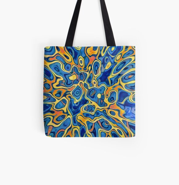 Abstraction of SteelBlue Golden Grass All Over Print Tote Bag