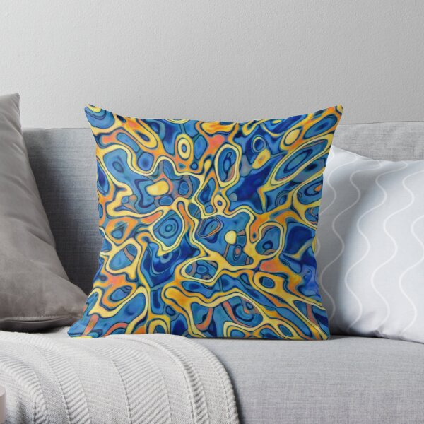 Abstraction of SteelBlue Golden Grass Throw Pillow