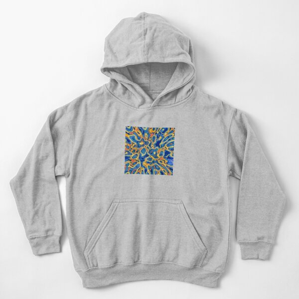 Abstraction of SteelBlue Golden Grass Kids Pullover Hoodie