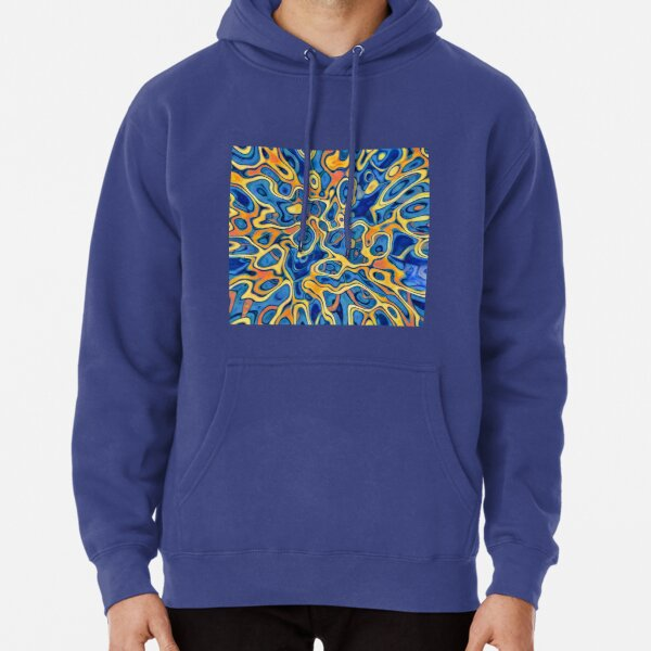 Abstraction of SteelBlue Golden Grass Pullover Hoodie