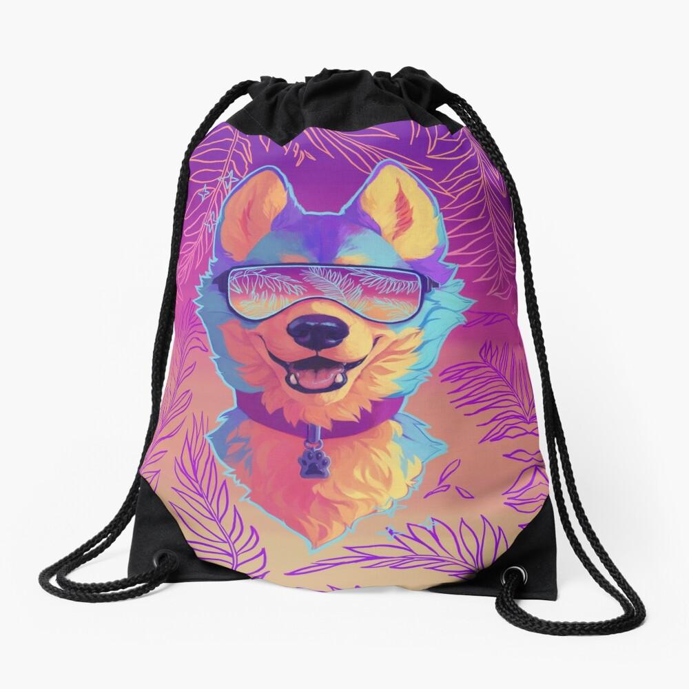 sparkle dog Drawstring Bag