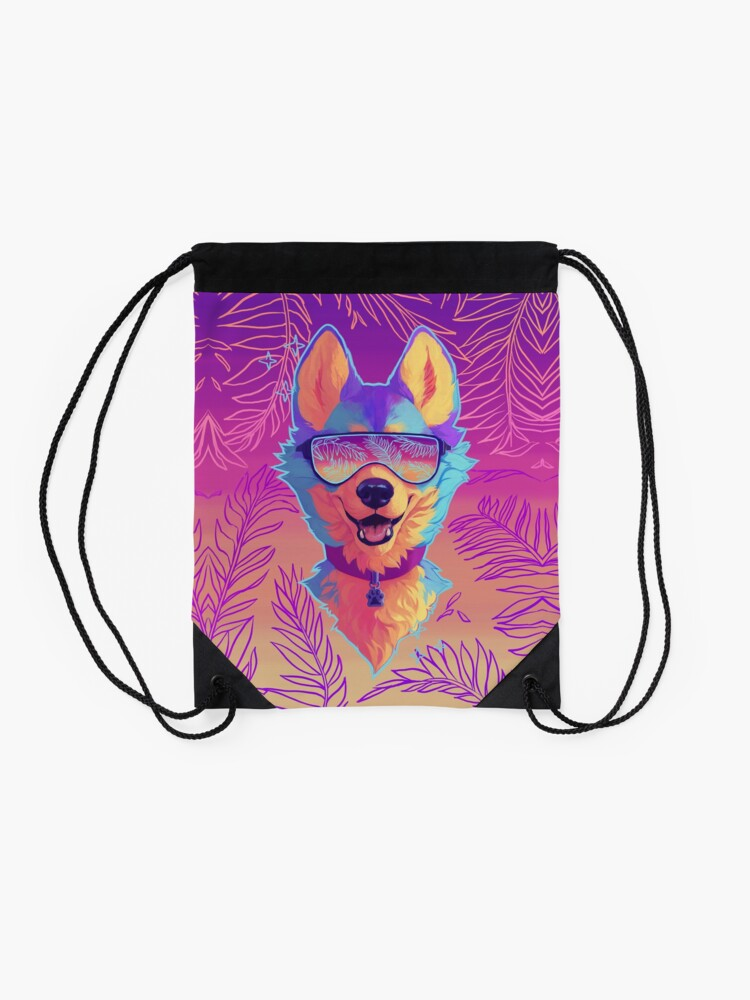 Alternate view of sparkle dog Drawstring Bag