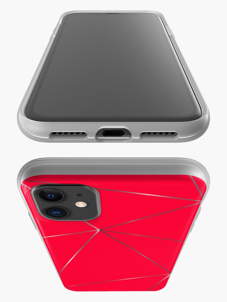 Alternate view of Silver watermelon color geometric pattern iPhone Case & Cover