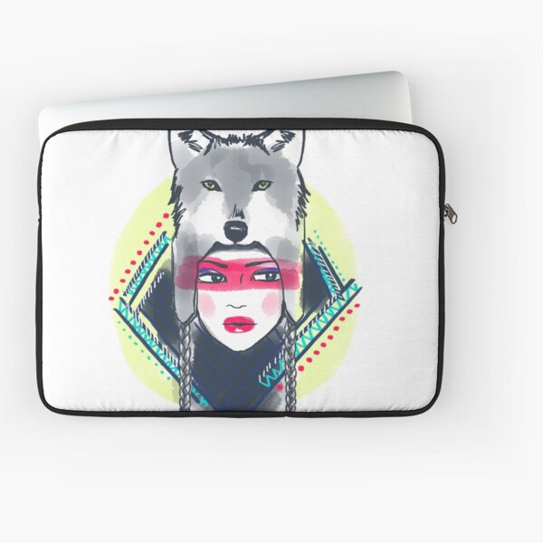 Girl with wolf hat Laptop Sleeve