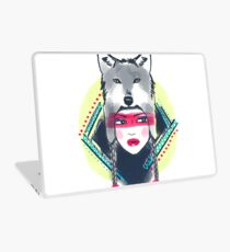 Girl with wolf hat Laptop Skin