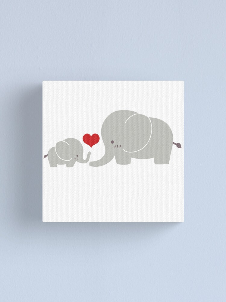 Alternate view of Baby and parent elephant with heart Canvas Print
