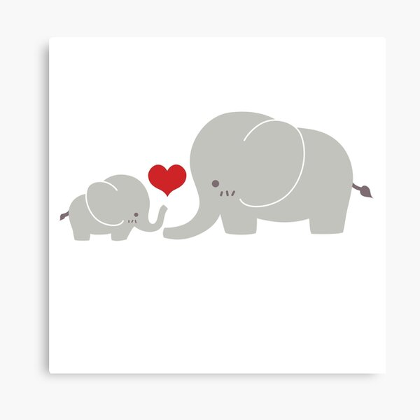 Baby and parent elephant with heart Canvas Print