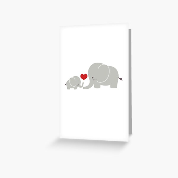 Baby and parent elephant with heart Greeting Card