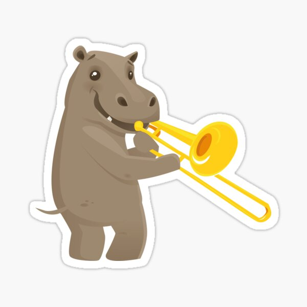 Funny hippo playing music with trombone Sticker