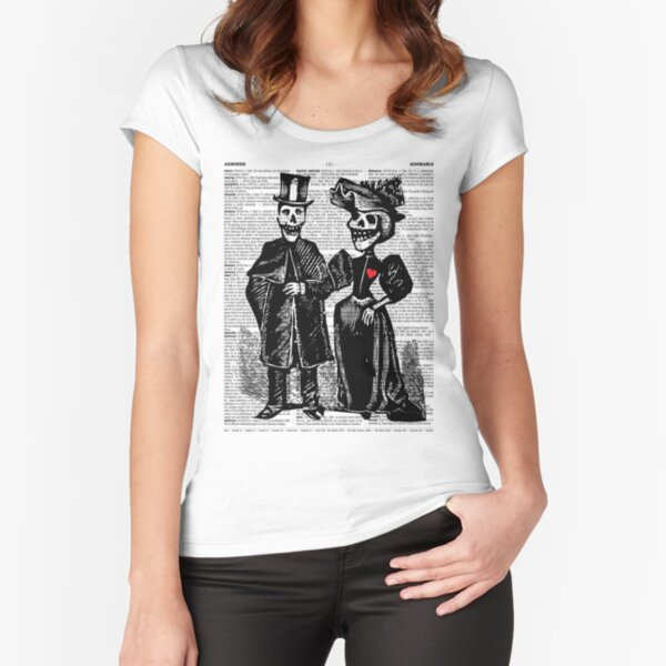 Calavera Couple   Day of the Dead   Dia de los Muertos   Skulls and Skeletons   Vintage Skeletons   Fitted Scoop T-Shirt