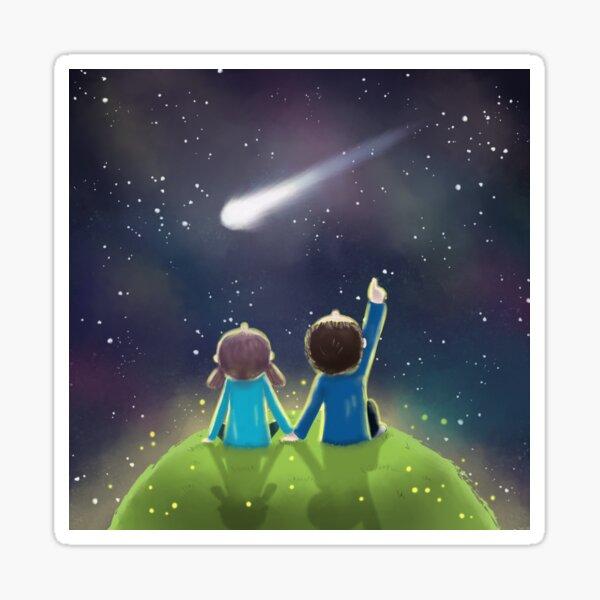 Love under the night sky Sticker