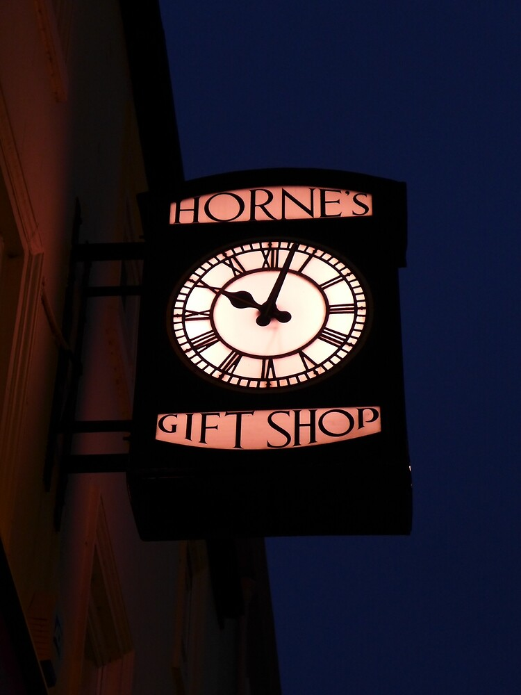 Hornes Gift Shop clock, Whitby, West Yorkshire  by Anna Myerscough