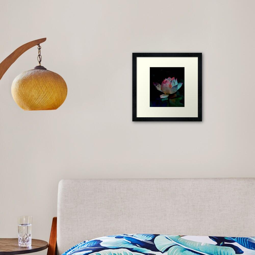 Lotus In Blue - Digital Art Framed Art Print