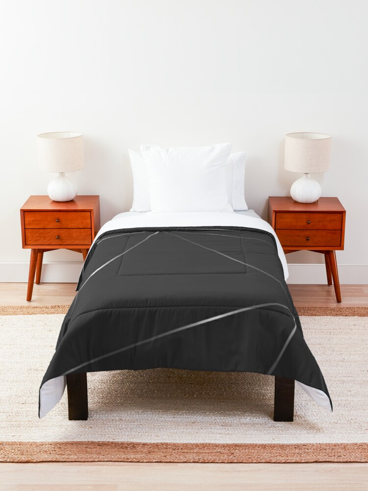 Alternate view of Silver metallic gray color geometric pattern Comforter