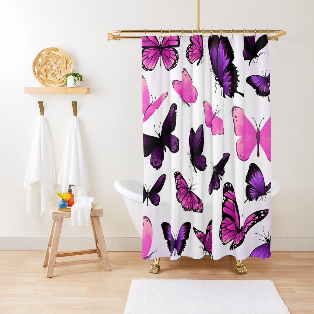 Butterflies Pastel Girly Animal Print Shower Curtain