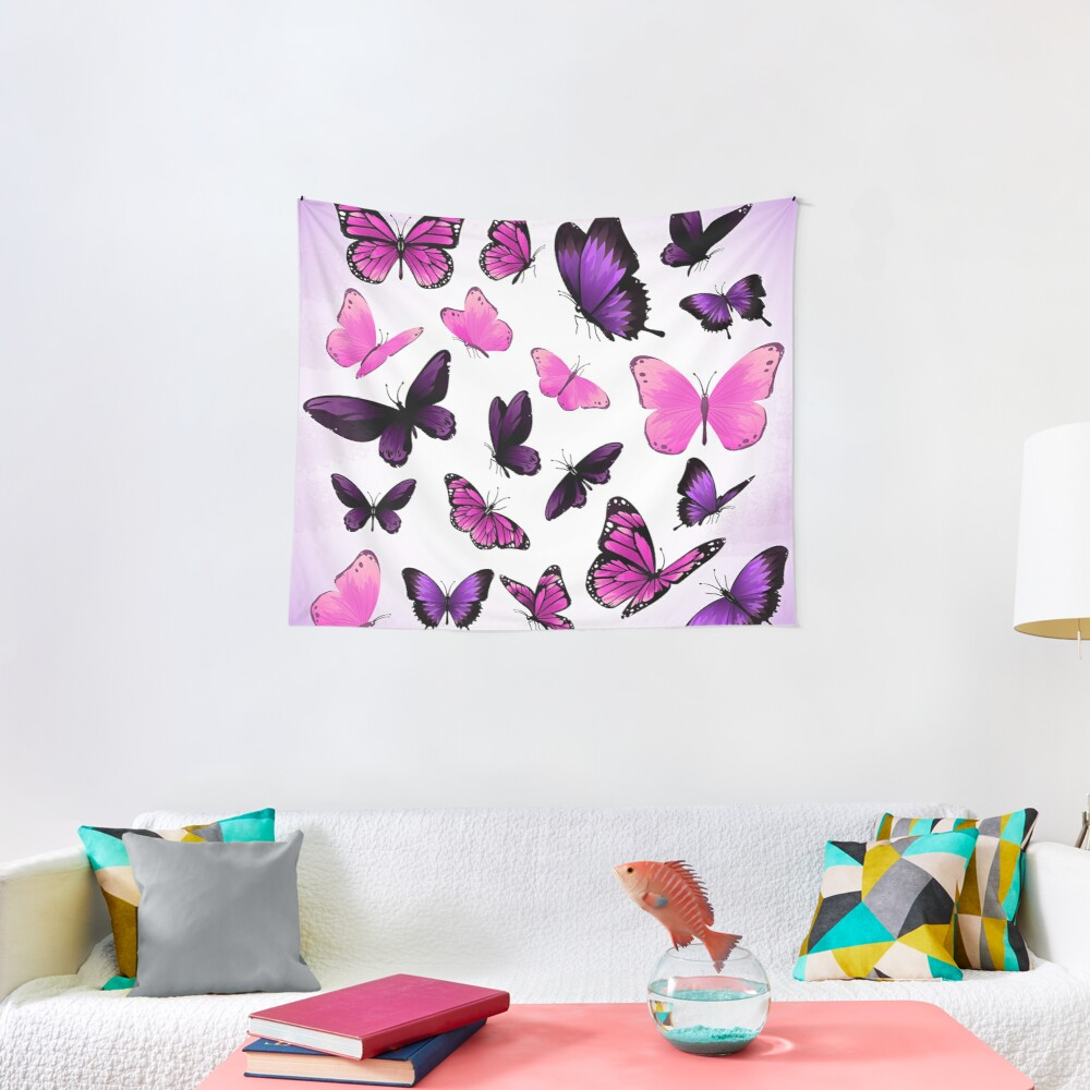 Pink and Purple Butterflies in Spring Bird Animal Print Tapestry