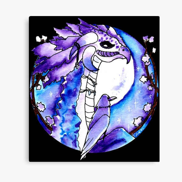 Amethyst Dragon and Raven Canvas Print