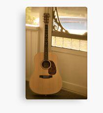 Martin guitar on porch Canvas Print